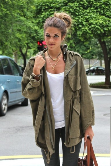military jeans black jacket coat khaki leopard white tank top khaki jacket parka anorak gold jewelry