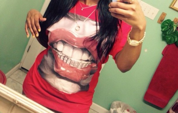 blouse t-shirt grillz gangsta
