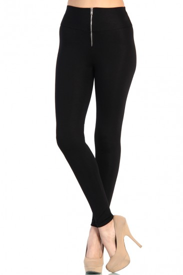 LoveMelrose.com From Harry & Molly | Zip Up High Waist Leggings - Black
