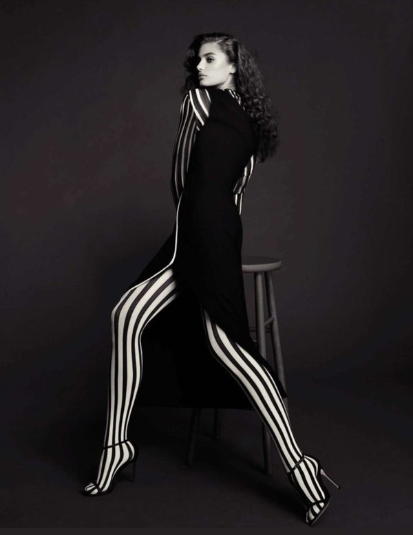 tights stripes Taylor hill sandals dress model editorial