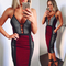 Cut out colorblock dress burgundy