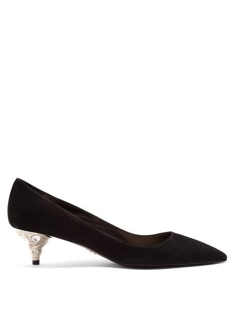 Prada suede pumps embellished pumps suede silver black shoes
