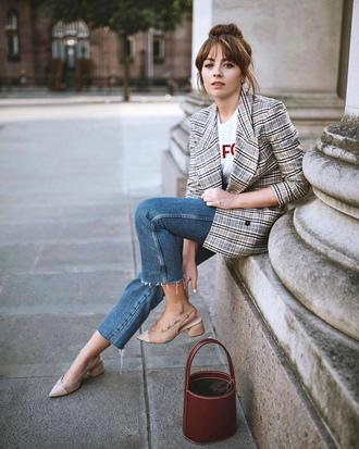 bag tumblr bucket bag blazer plaid denim jeans blue jeans fall outfits shoes slingbacks mid heel sandals
