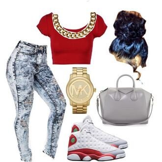 jeans red crop top shoes jewels dress bag t-shirt