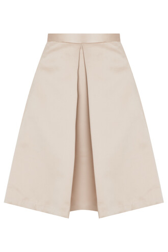 skirt pleated satin beige