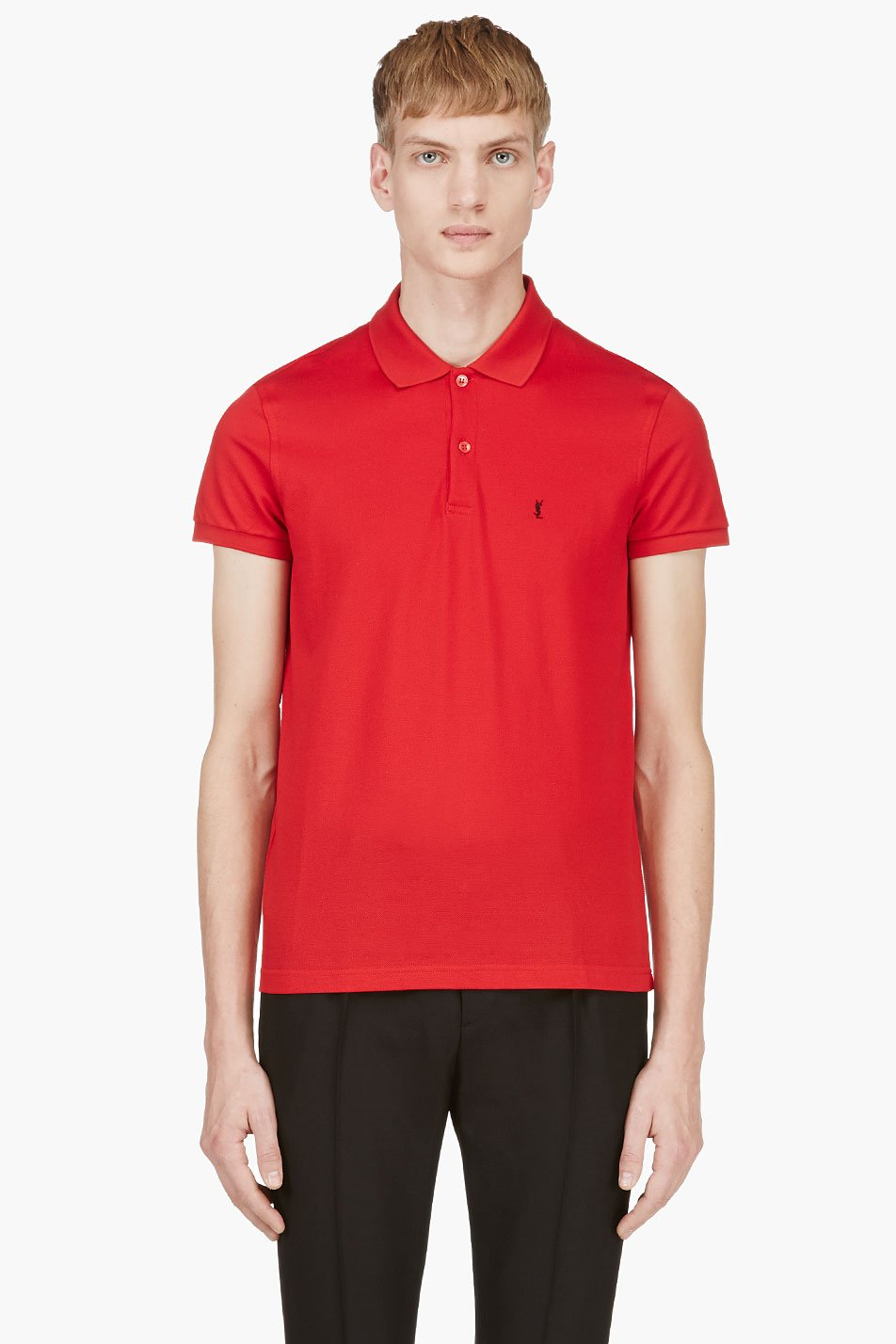 saint laurent red cotton piquandeacute monogrammed polo