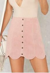 skirt,pink skirt,pink,suede,pastel,pink suede skirt,scalloped skirt,scalloped,button up skirt,suede skirt