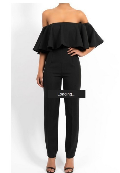 A word shoulder falbala conjoined trousers jumpsuit