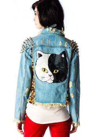 jacket studs studded jacket denim denim jacket cats
