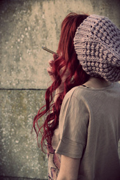 hat,hipster,knit,beanie,red hair,greyish purple,grey,light purple,knit hat,floppy hat,floppy beanie