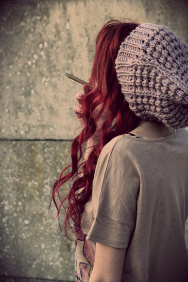 hat floppy hat knit beanie greyish purple grey light purple knit hat floppy beanie hipster red hair