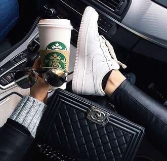 shoes nike starbucks coffee chanel bag sunglasses white white sneakers nike air force 1 chanel boy bag boy bag chanel boy