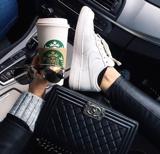 shoes nike starbucks coffee chanel bag sunglasses white white sneakers nike  air force 1 chanel boy