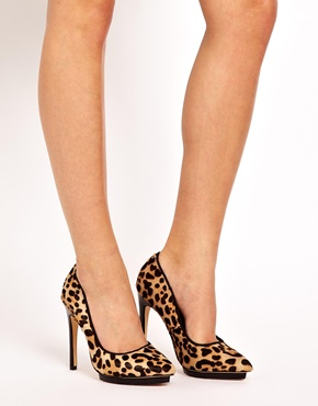 ALDO | ALDO Madueno Leopard Pointed Heeled Court Shoes at ASOS