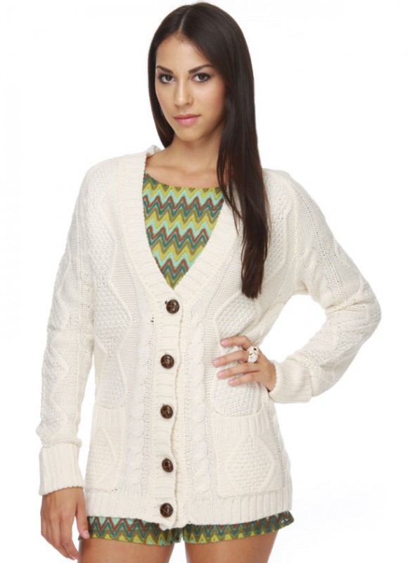 Urban Behavior Piano Keys Cream Cardigan Sweater | Women's Clothing