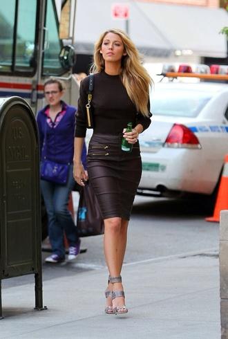 skirt black leather pencil skirt black black leather skirt gossip girl blake lively black pencil skirt