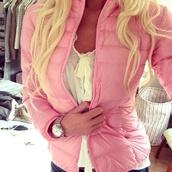 jacket,pink puffer jacket,puffer jacket,pink jacket