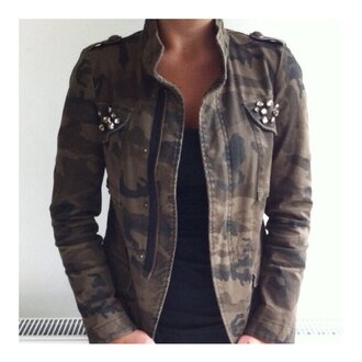blouse army green jacket studs