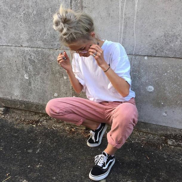 jeans denim pink pink jeans dull pink jeans boyfriend jeans