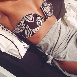 swimwear skirt clothes leafs bikini black swimwear summer tumblr tumblr girl tumblr bikini fashion swimwear printed grey black and white black bandeau bikini black bandeau print tube top nude deep v top
