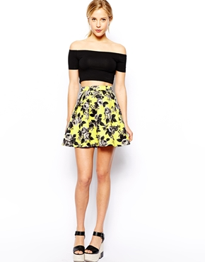 ASOS Skater Skirt In Quilted Floral Print at asos.com