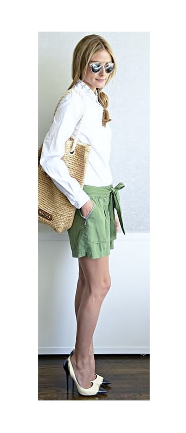 olivia palermo shorts shoes shirt bag