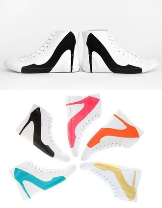 shoes white sneakers heels funny