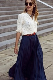 skirt,blue skirt,pleated skirt,top,eyelet top,white top,shirt,three-quarter sleeves,maxi skirt,sunglasses,tortoise shell,tortoise shell sunglasses,spring outfits,office outfits,casual friday