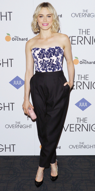 top pants bustier taylor schilling floral high waisted