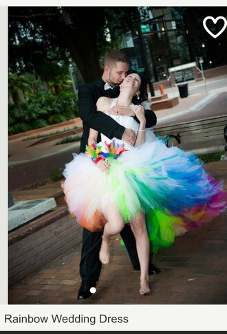 dress rainbow colorful rainbow dress wedding dress