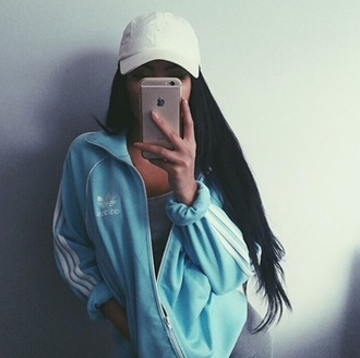 jacket baby blue adidas white tumblr dope fashion style cute trendy hat cyber ghetto cyber pale soft ghetto tumblr girl selfie girl clothes blue adidas jacket hoodie bag swag light blue blue jacket