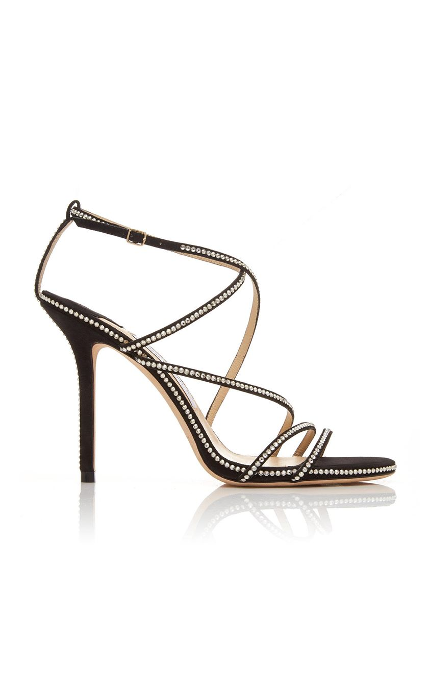 Jimmy Choo Dudette Crystal-Embellished Suede Sandals Size: 35