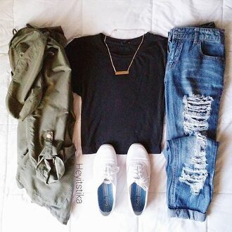 coat jeans top black