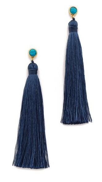 tassel earrings gold turquoise jewels