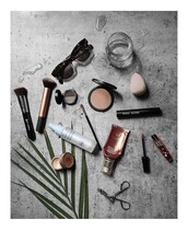 make-up,lip gloss,beauty blender,makeup brushes,sunglasses,compact powder,concealer