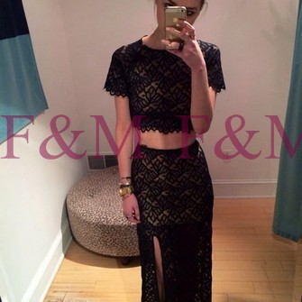 Sexy lady beautiful new two pieces short sleeves lace black side slit latest floor length party fashion elegant prom dresses