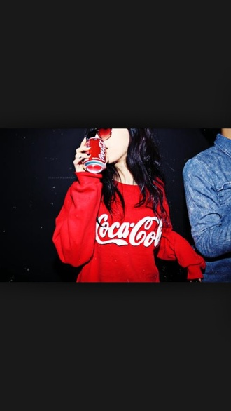 sweater coat coke red red dress style red sweater tumblr outfit tumblr shirt tumblr outfit