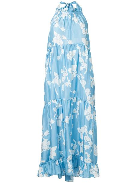 Lee Mathews dress women blue silk