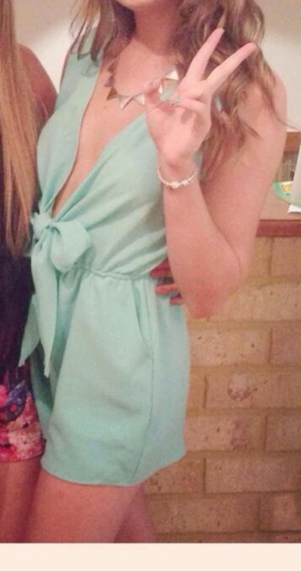 dress mint romper cleavage bow lauren conrad summer cute i need it it gorgeous chiffon low cut frankie sandford