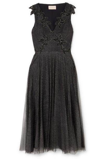 Christopher Kane - Embellished Metallic Point D'esprit Tulle Midi Dress - Black