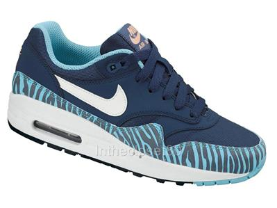 Nike Air Max 1 GS Zebra Womens Girls Boys Trainers Safari Leopard Brave Blue Wht | eBay