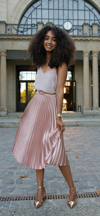skirt pink pleated skirt pink skirt asos asos shoes asos skirt pointed mid heels metallic skirt metallic pleated skirt pinterest asymmetric strap detail cami top top