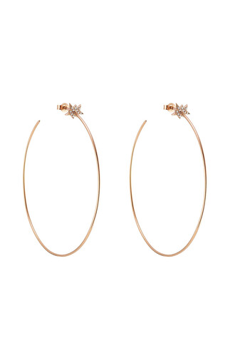 rose gold rose diamonds earrings hoop earrings gold white jewels