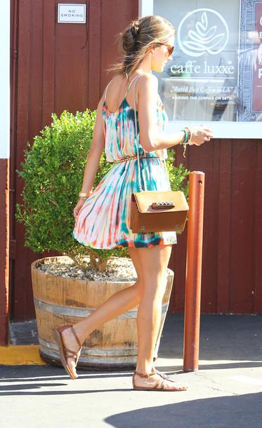 dress colorful multicolor bag tie dye pretty summer beach tie dye fashion color dress