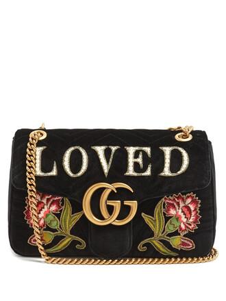 quilted bag shoulder bag velvet black