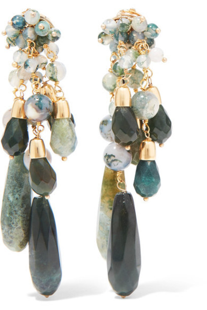 Rosantica earrings gold green jewels