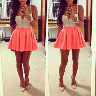 skirt high waisted fluro pink white crop tops shoes