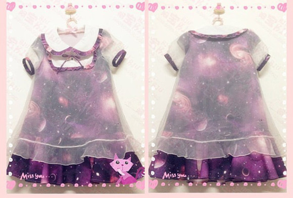 kawaii galaxy print sweet lolita fairy kei galaxy dress sailor dress sailor colar kids fashion