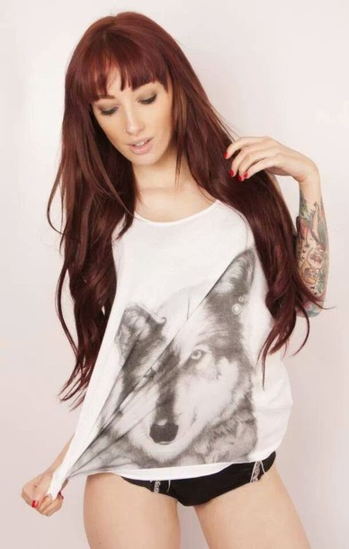t-shirt white wolf vest tank top