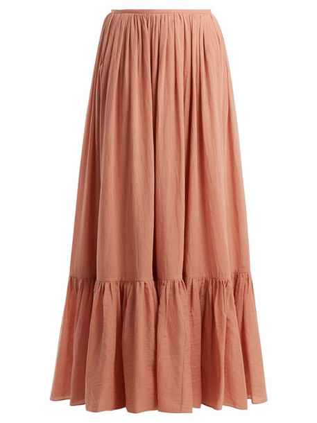 Loup Charmant - Flores Tiered Cotton Maxi Skirt - Womens - Pink